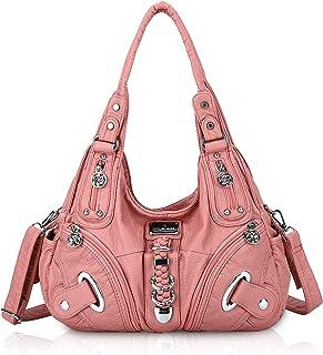 Angel Kiss Handtasche Damen Schultertasche Multifunktionale Umhängetaschen PU Leder mit Reißver Schlusstaschen (Rosa)