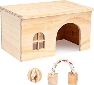 Petmolico Hamster Wooden House, Small Animals Natural Hideout Habitat Cage Play Hut with Window and Block Chew Toys for Gu...