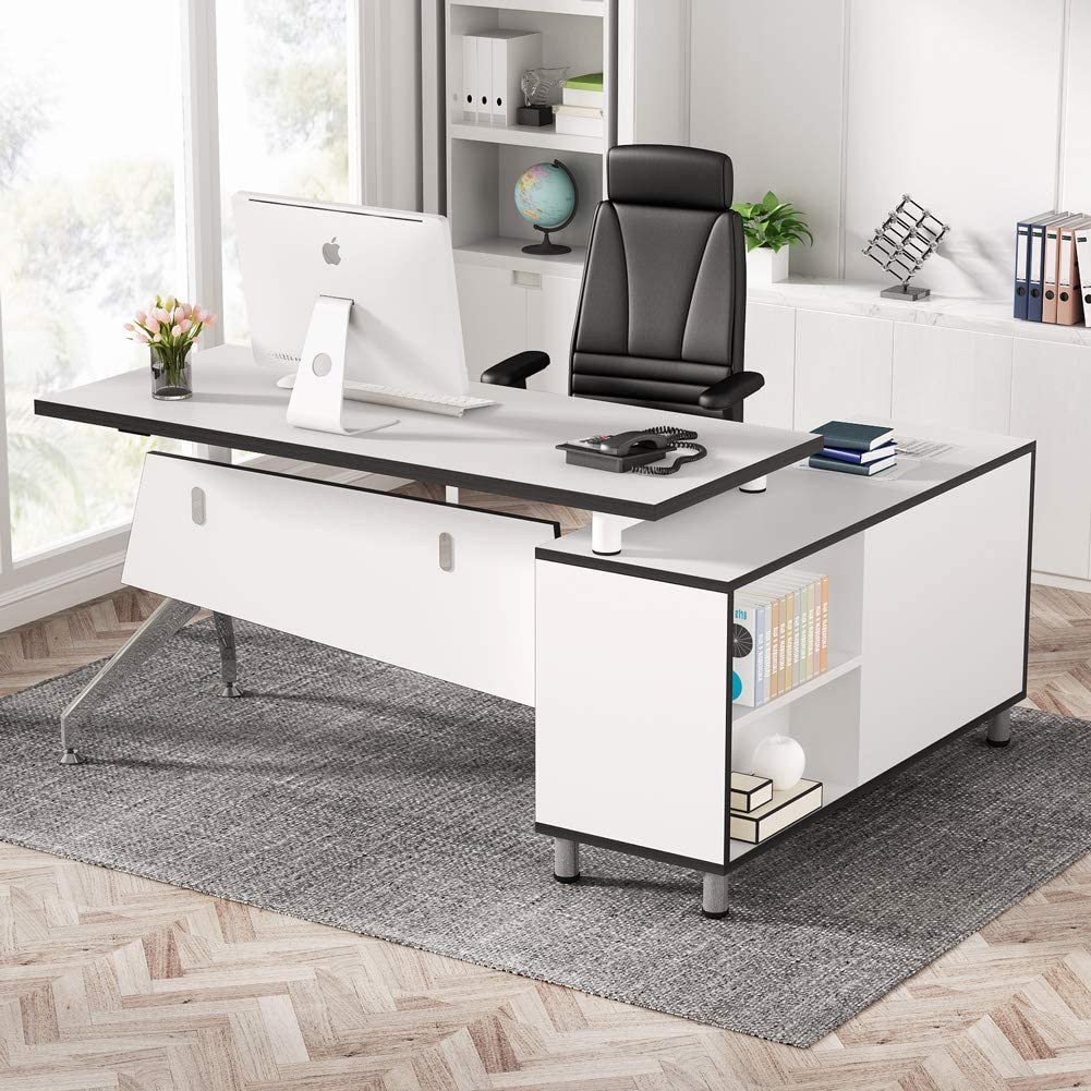 Tribesigns Fixed price for sale Modern L-Shaped Office security Desk Cabinet with 55 inc File