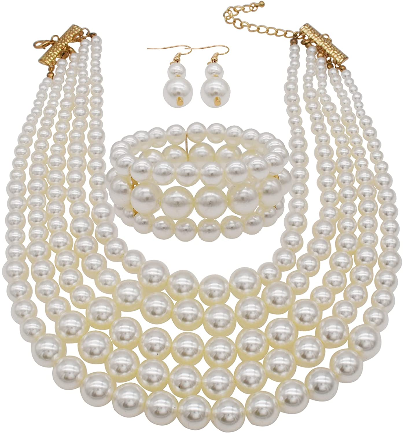 Pearl Necklace for Women 5 Layer Faux Pearl Necklace Bracelet and Earrings Set Costume Pearl Jewelry