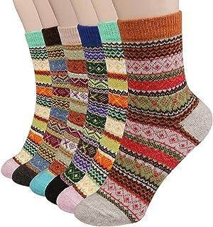 Calcetines para mujer de 6 pares - Calcetines de Lana Gruesos de Invierno Calientes Calcetines de Invierno Mujer - Calcetines de algodón coloridos de navidad