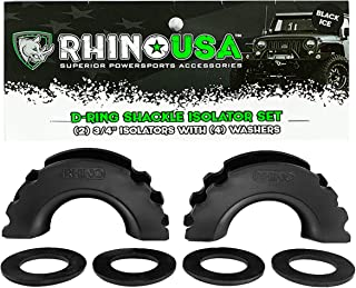 Rhino USA D-Ring Shackle Isolators (2) with Washers Included (4) - Fits Standard 3/4 Shackles - Protect Your Shackles from Damage & Prevents Rattling - Unlimited!