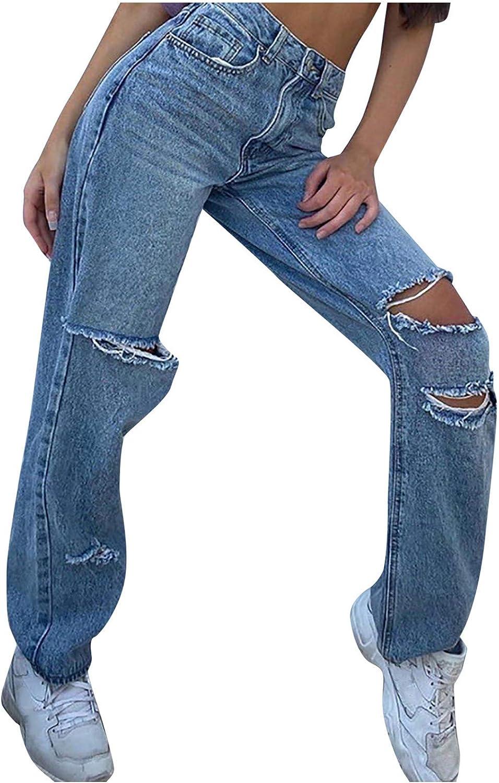 NOGOQU Women High Max 70% OFF Waist Jeans Ripped Denim Gorgeous Pants wit Hole Button