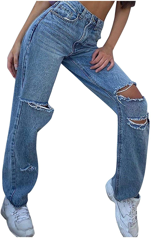 Euone_Clothes Jeans Pant for Women, Women Button High Waist Pocket Solid Color Jeans Trousers Loose Denim Pants