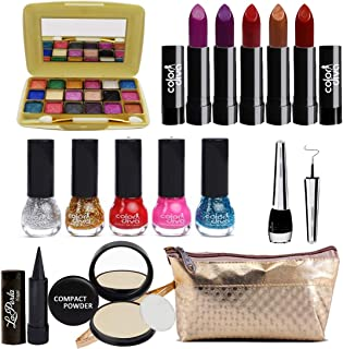 Adbeni Summer Vacation Combo Offer Makeup Set (18 Color Eyeshadow,Eyeliner, Nail Paint, Kajal, Compact, Lipstick & Silver Makeup Pouch) Set of 15