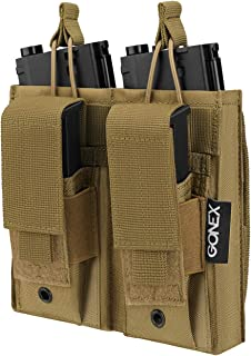 Gonex Double Molle Mag Pouch,Tactical Magazine Pouch Open Top Rifle Kangaroo Pouch for M4 M16 AK AR Magazine and Closed Top Pistol Pouch for Glock M1911 92F 9mm
