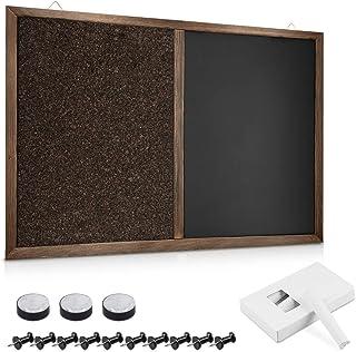 Navaris Tablero para notas de corcho y pizarra - Tablero magnético combinado de pared 90 x 60 CM y marco de pino - Tiza chinchetas imanes incluidos