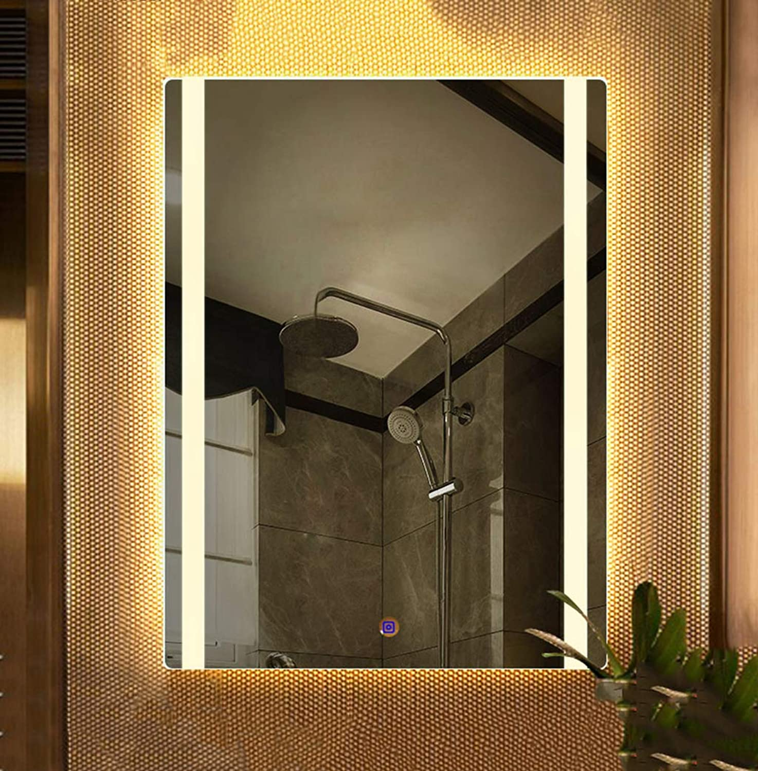 12V Adjustable LED Brightness Bathroom Light Mirror, Wall-Mounted Square Frameless bathroom mirror