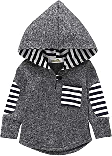 KONIGHT Kids Toddler Baby Boys Girls Fall Outfit Stripe Pocket Hoodie Jackets Coat Clothes Tops Clothing