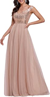 Ever-Pretty Womens V Neck Sequin Tulle A Line Evening Formal Dress 0277