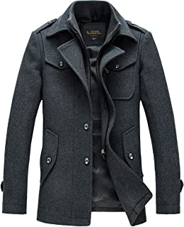 Chouyatou Men's Stand Collar Wool-Blend Classic Pea Coat with Removable Inner Collar
