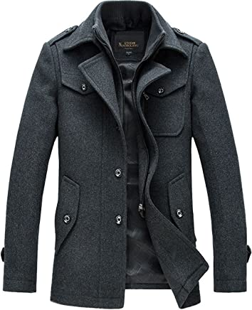 chouyatou Men's Stand Collar Classic Pea Coat with Removable Inner Collar