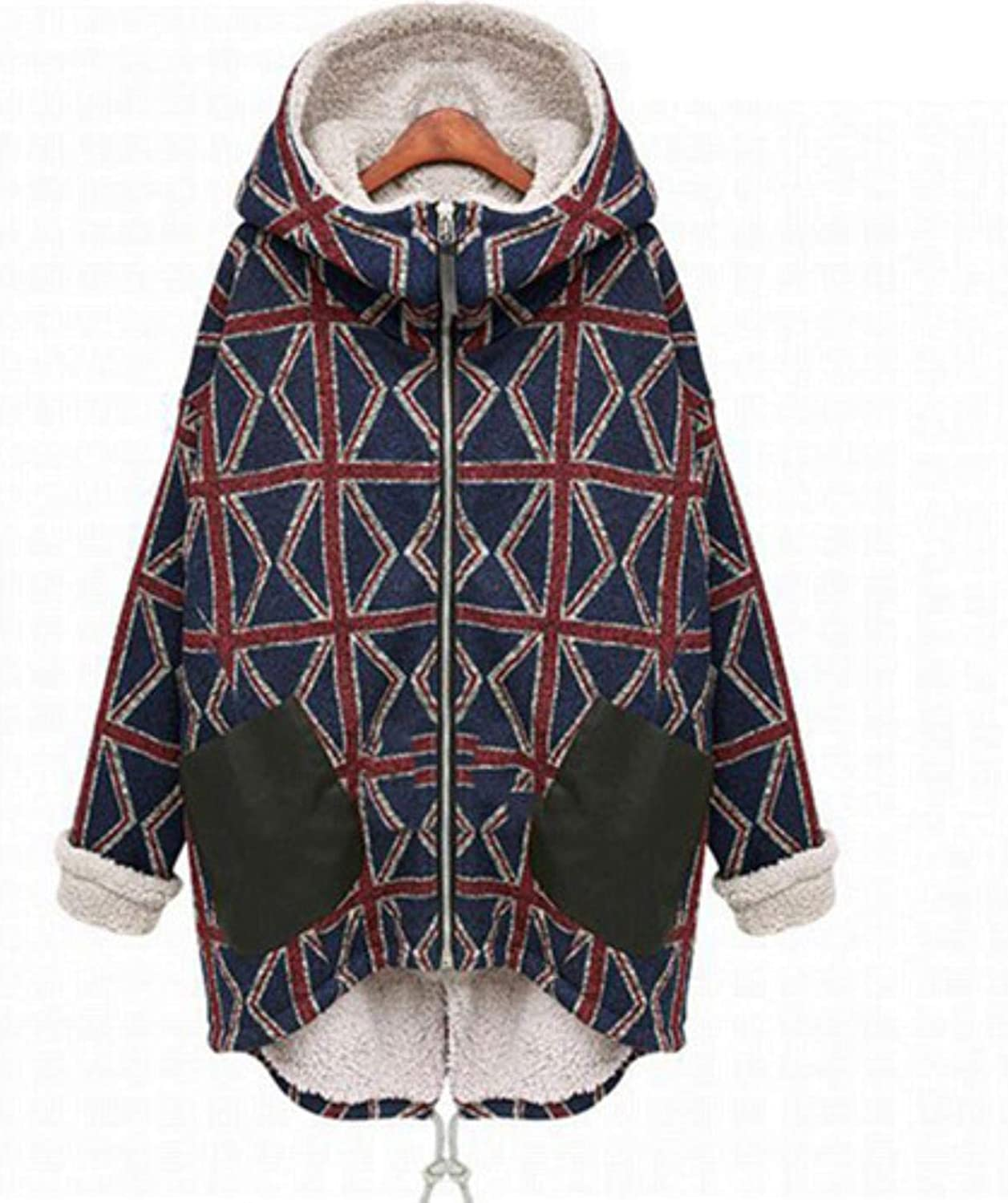 CHANGYUGE Women Winter Padded Cotton Print Hooded Causal Jacket Coat