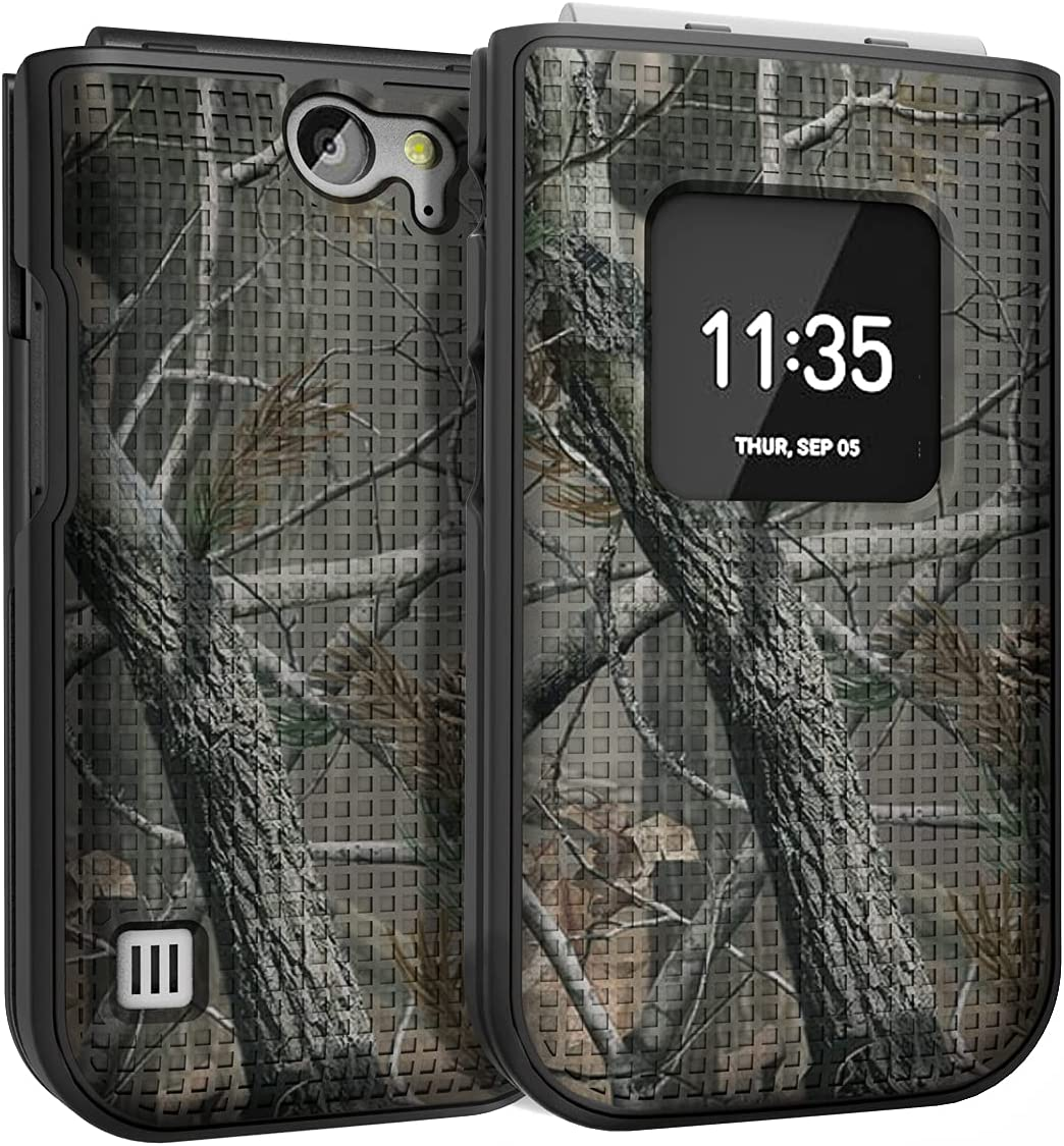 Case for Nokia 2720 V Flip Phone, Nakedcellphone [Outdoor Camouflage] Tree Leaf Real Woods Camo Protective Hard Shell Cover