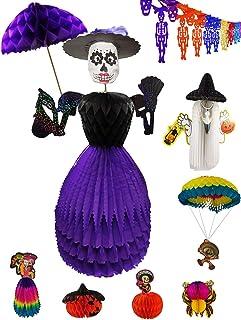 Topic of Day of The Dead Celebration | Dia De Muertos | Set of 8 Pieces | Halloween - Catrina(2), Spider, Pumpkin, Skeleto...