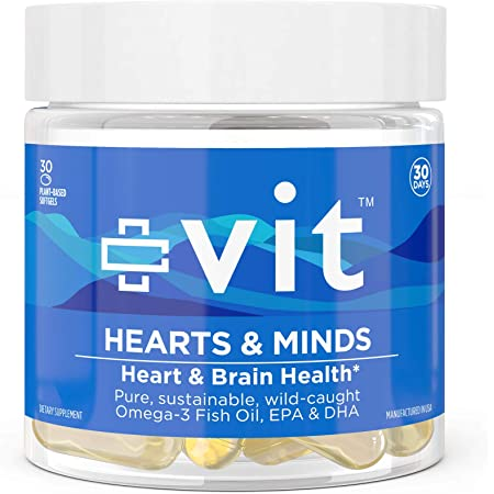 Omega 3 Fish Oil 1000mg Capsules - Heart and Brain Health Supplement with EPA & DHA Fatty Acid   vit Hearts & Minds Burpless Flavored Softgels, Ultra Clear, Non-GMO, Easy to Swallow