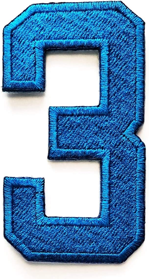 Number 0-9 NoBlue Number 2 Arabic Numbers Digital Embroidered Cloth Iron On Patch Sew Motif Applique Badge Blue Number 2