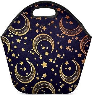 InterestPrint Insulated Neoprene Lunch Bag Moon Stars Reusable Tote Lunchbox