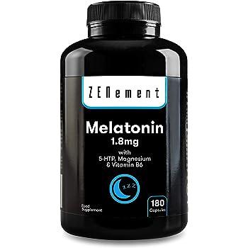 Melatonina 1,8 mg con 5-HTP, Magnesio y Vitamina B6, 180 Cápsulas ...