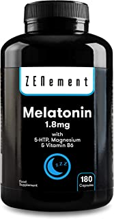 Melatonina 1.8 mg con 5-HTP. Magnesio y Vitamina B6. 180 Cápsulas | Ayuda con el insomnio o trastornos