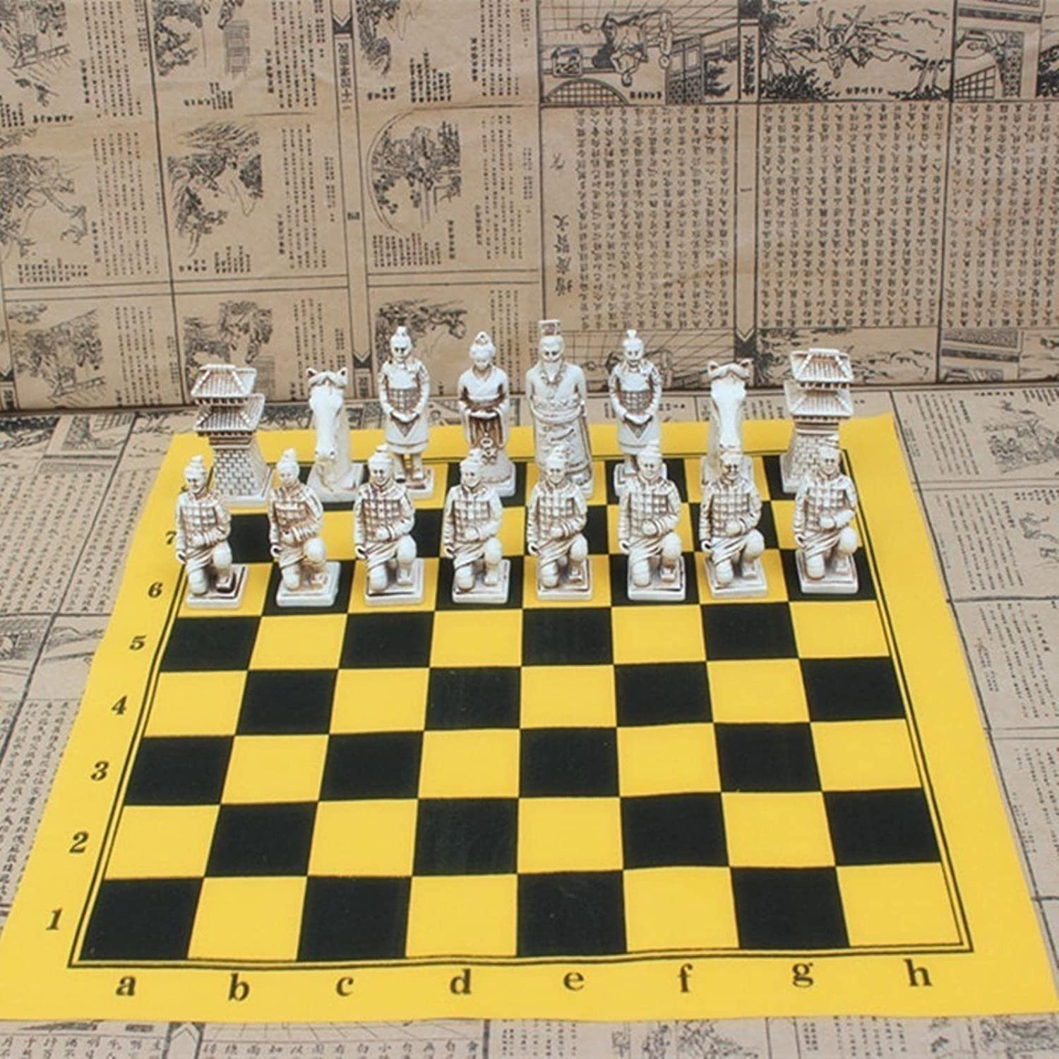 Antique Chess Large Pieces R Don't quality assurance miss the campaign Terracotta Leather Chessboard