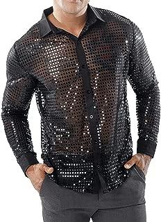 Men's Sequin Shirt Nightclub Party T-Shirts Tops Turndown Casual Button Long Sleeve T-Shirt