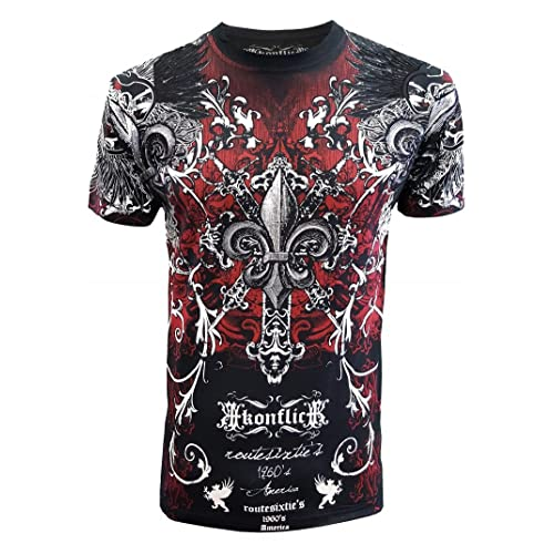 60d39940 Konflic Men's MMA Style All-Over Graphic Crew Neck Muscle T-Shirt 100%