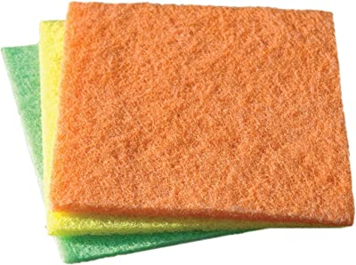 YORK Multipurpose Scrubbing Pads Clean Bathrooms, Kitchens, Counters And Floors To Erase Grime And Make Surfaces Sparkle 3 Pieces (032030)
