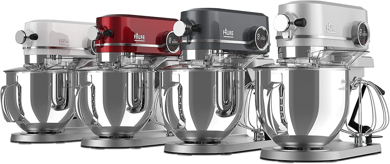 Faure FKM-904ME1 Robot Pâtissier Magic Baker Excellence - 800W transmission directe - Mouvement Planétaire - Bol Inox 5,2L - Coloris Rouge Black