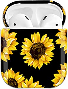 Sunflower Airpods Case Cover, J.west Cases for Airpods with Cute Vintage Floral Flower Design for Girls Women,Shockproof Plastic Protective Hard Case for AirPods 1st 2018 /2nd 2019 Charging Case