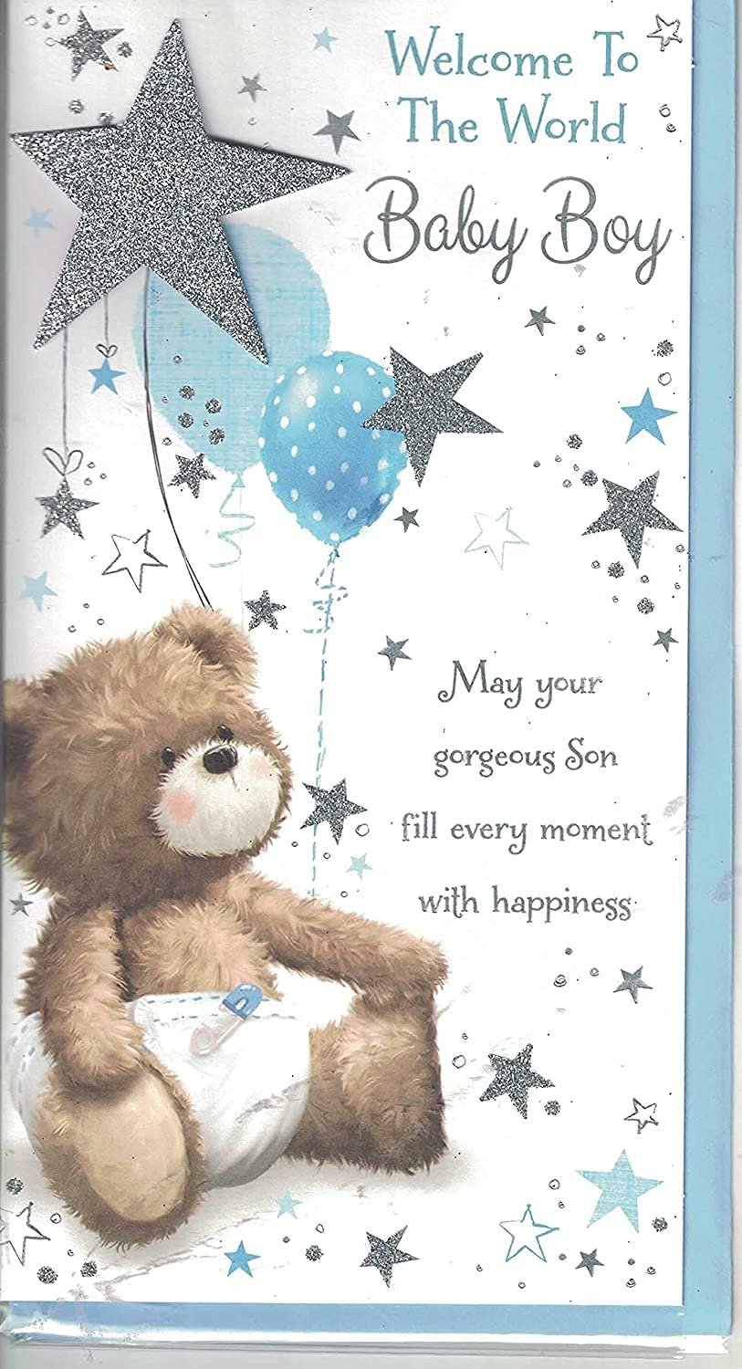 Prelude New Baby Boy Card ~ Congratulations On The Birth Of Your Beautiful  Son ~ Slim Baby Mobile Card Size 21cm x 21cm