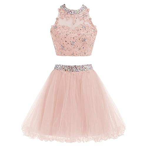 Sparkly Beaded Homecoming Dresses Two Piece Sequines Prom Dress Short