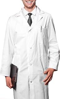 AIESI® Bata de Laboratorio Medico para Hombre blanco de algodón 100% sanforizado MADE IN ITALY talla 58
