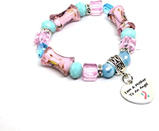 Pink and Blue Beaded Stretchable Miscarriage Awareness Bracelet