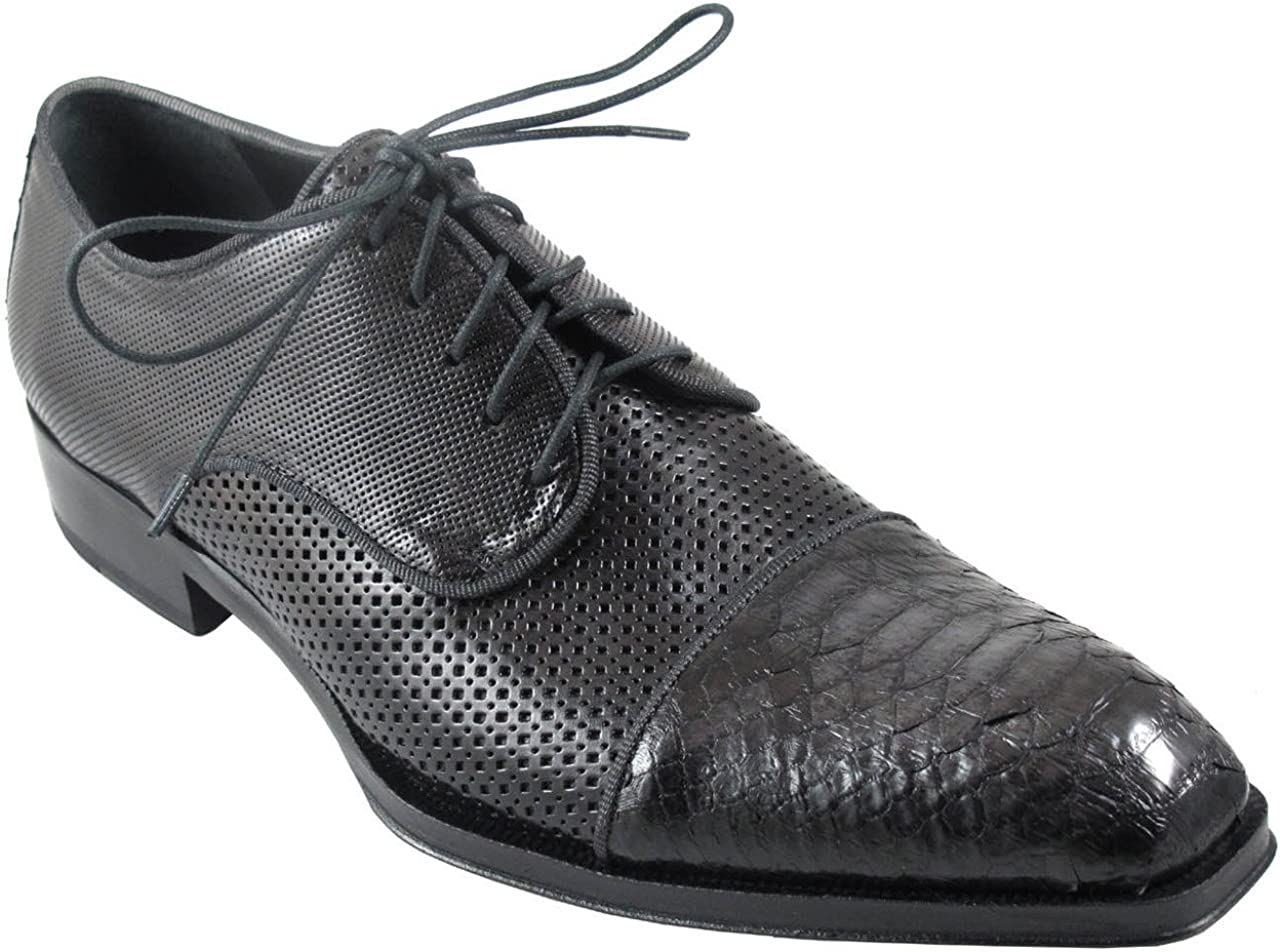 Jo Ghost 3552 Luxurious Men's Captoe Oxford Lace Up Python Leather Dressy Shoes