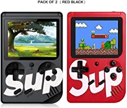 LUCRIA Combo Sup Classic 400-in-1 Digital Video Port Game Console Classic Retro Video Gaming Player Colorful LCD Screen USB Rechargeable Game Best Toy for Kids (Red & Black; Pack Of 2)
