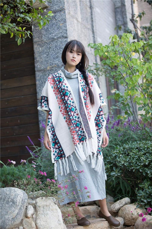 Ladies Women Shawl Cloak Fall Winter Tassels Loose Sweater Knit Cloak Coat Tops