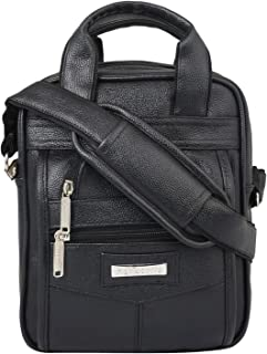 Handcuffs Leather Crossbody Sling Bag Briefcase Style for Men for Daily Use - 10 Inch (Black)