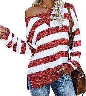 Women Casual Side Split Color Block Stripes Long Sleeve Loose Shirt Top