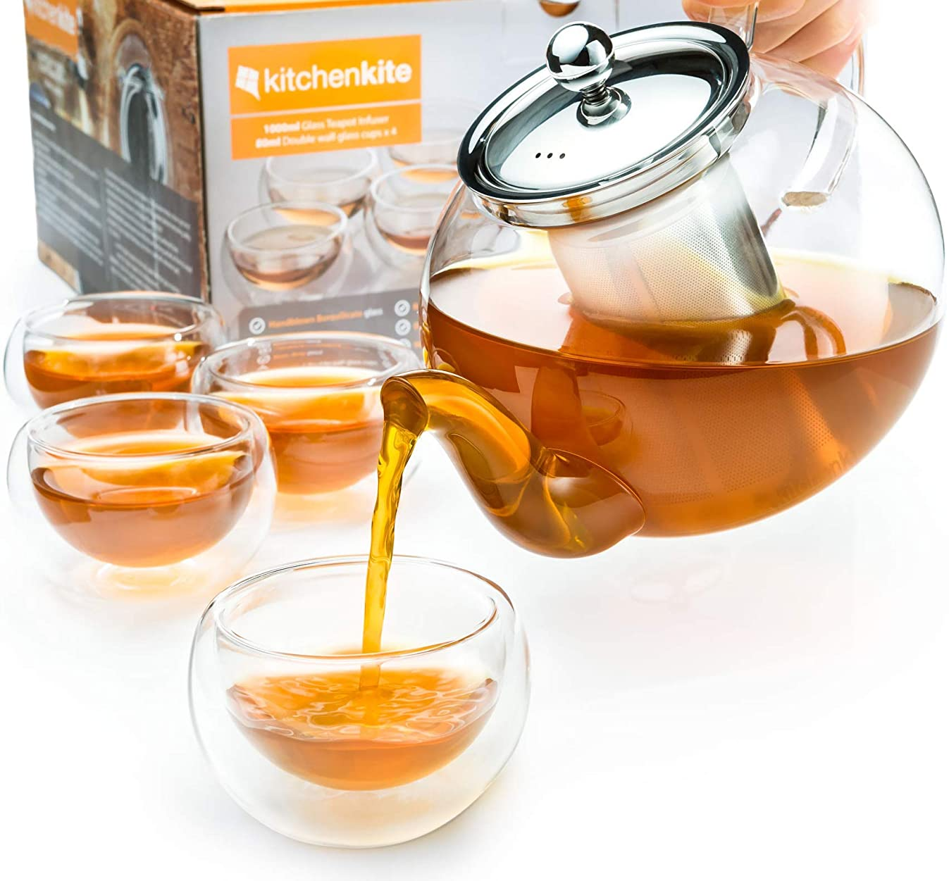 Stovetop Safe Tea Kettle, Tea Strainer, Glass Teapot with Infuser Set, Extra 4 Double Wall 80ml Cups, Removable Stainless Steel Strainer, Microwave, Dishwasher Safe, Blooming & Loose Leaf Tea Pot