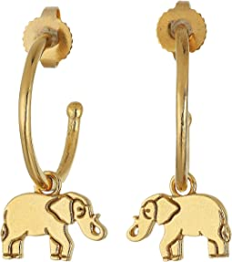 Elephant Hoop Earrings - Precious Metal