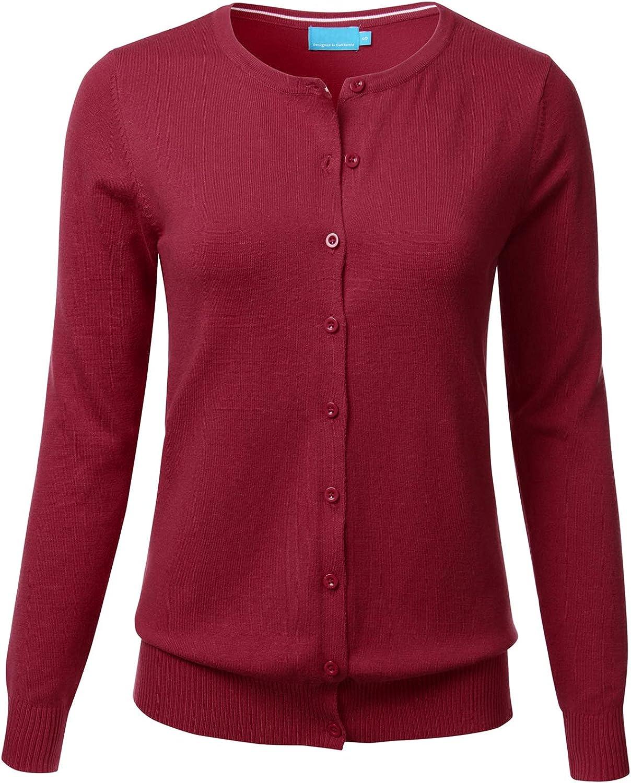 FLORIA Women's Button Down Crew Neck Long Sleeve Soft Knit Cardigan Sweater Burgundy M