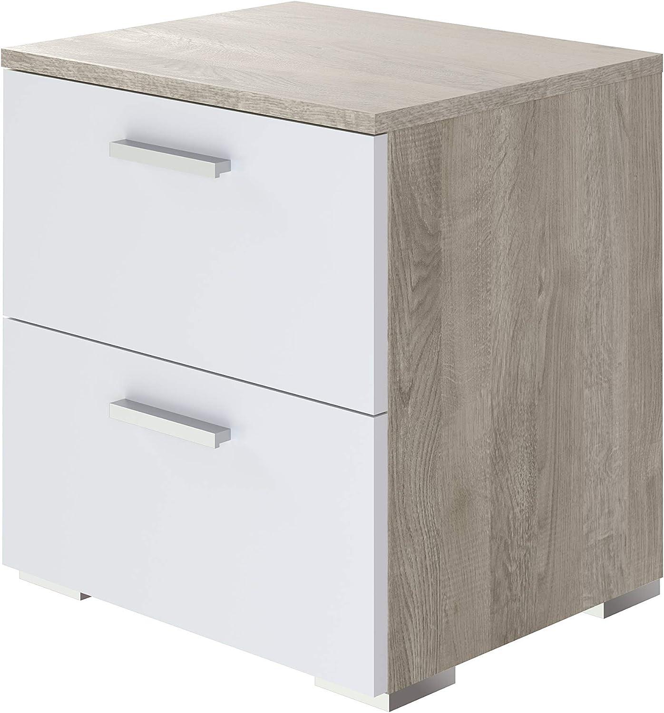 Movian Kolva moderner  Nachttisch mit 2 Schubladen, 37,7 x 44,5 x 47, Eiche Optik