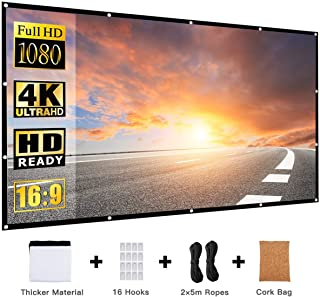 REESOUL Projector Screen 120 inch Outdoor Portable Foldable 16:9 HD 3D, Anti-Crease Projector Movies Screen Support Double Sided Projection for Outdoor Indoor with a Cork Bag