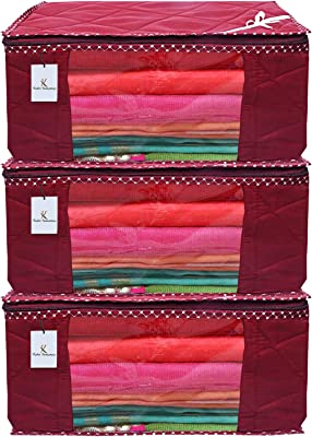 Heart Home 3 Layered Quilted 3 Pieces Cotton Saree Cover Set (Maroon) - CTHH13735