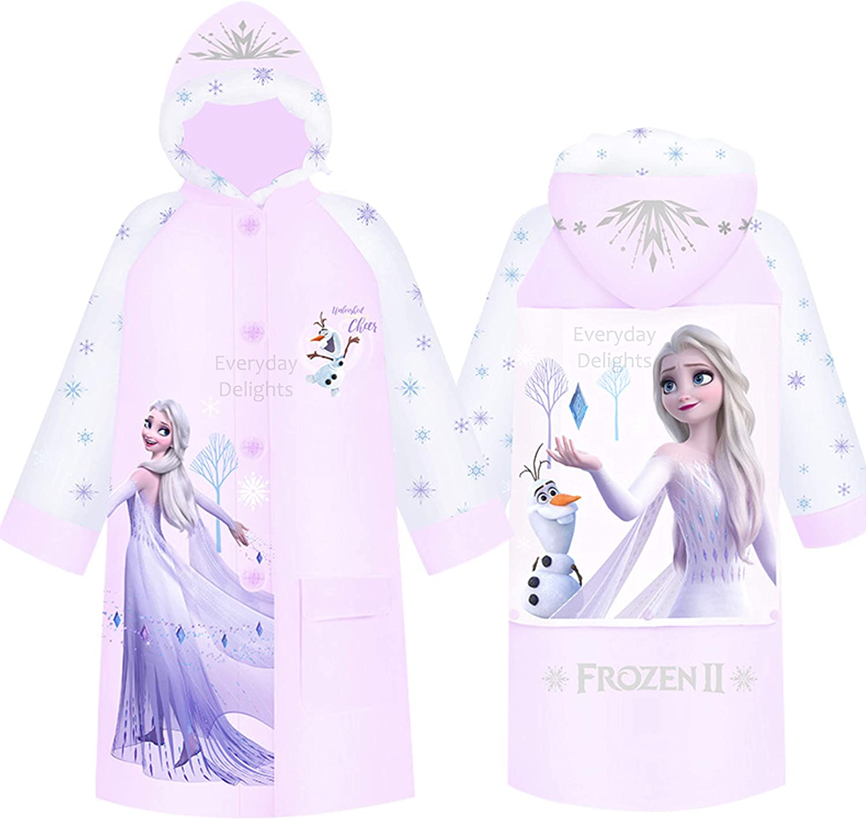 Disney Frozen II Queen Elsa Hooded Raincoat Rain Jacket Poncho Outwear for Girls Toddlers Kids Children