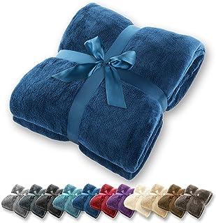 Manta Gräfenstayn® - Muchos tamaños y colores diferentes - Manta de microfibra Manta para sala de estar Manta para cama - Fibra polar de microfibra de franela (Azul, 240x220 cm)
