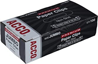 ACCO Jumbo Paper Clips, Non-Skid, Premium, Steel Wire, 20 Sheet Capacity, Silver, 1 Box of 100 Clips (A7072510)