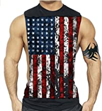 Interstate Apparel Inc American Flag Muscle Workout T-Shirt Bodybuilding Tank Top USA US
