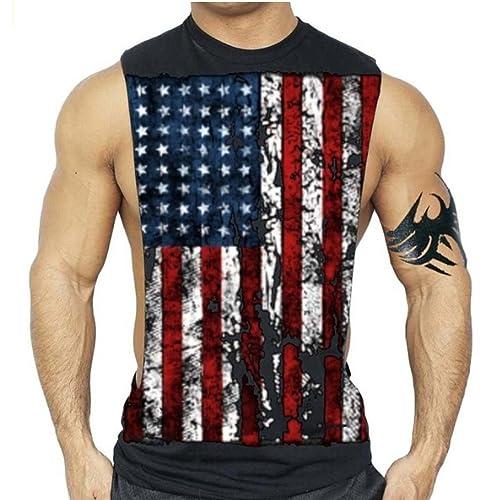e4142ebae73d6 Interstate Apparel Inc American Flag Muscle Workout T-Shirt Bodybuilding  Tank Top USA US